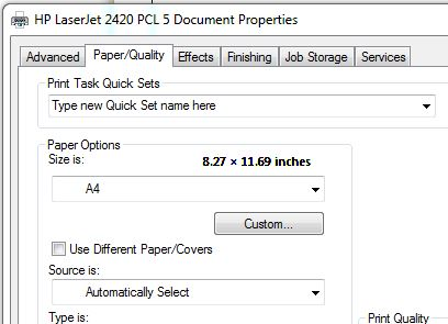 Printer properties showing A4 paper
