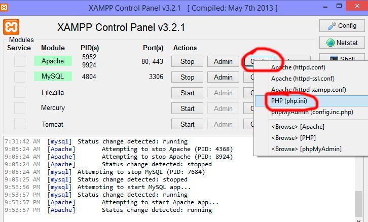 xampp go to php.ini