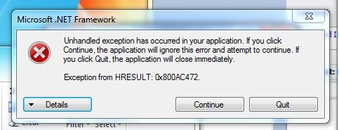 Picture of error when the excel template is opened in the background