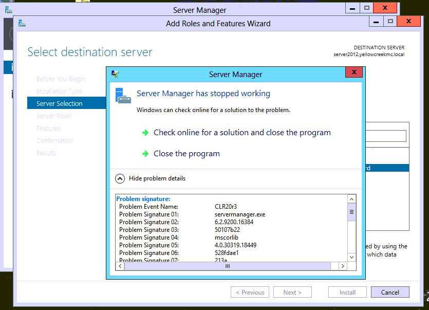 Server Manager crashes during Add Roles and Features wizard