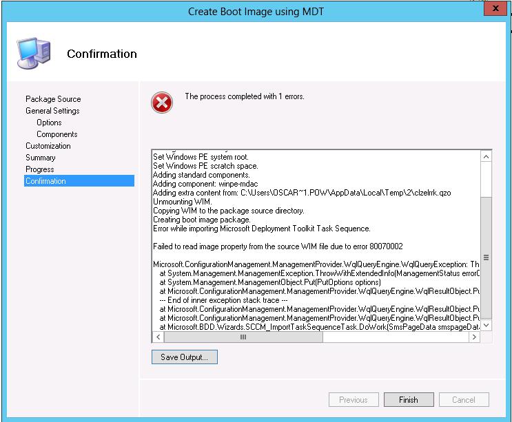 SCCM 2012 MDT error 80070002