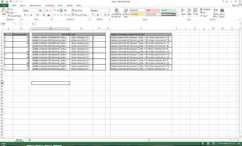 Excel Query builder