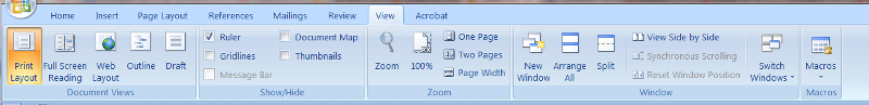 MS Word 2007 View menu