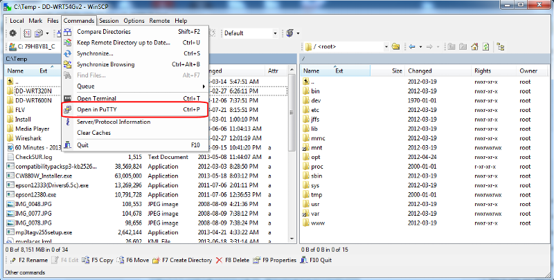 WinSCP and PuTTY on port 22 (click for larger)