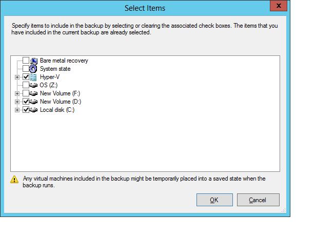 Backup Selection Window