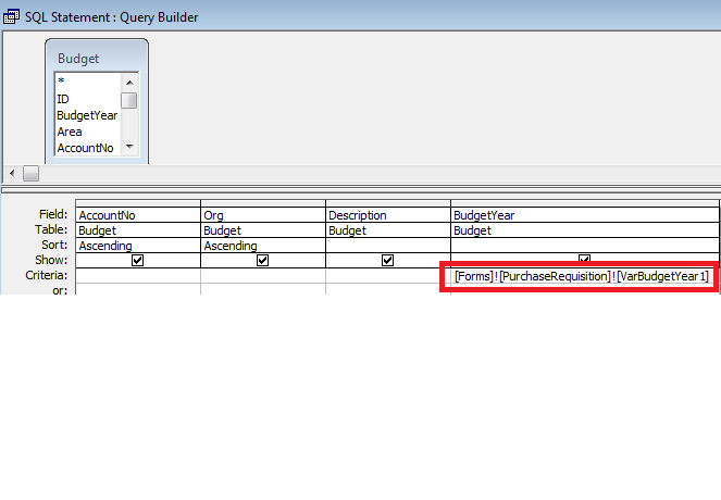 Budget Account Selection Query based on BudgetYear variable