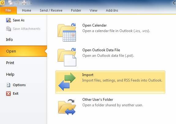 Import/Export menu option for Outlook 2010
