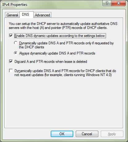 DHCP dynamic upates settings