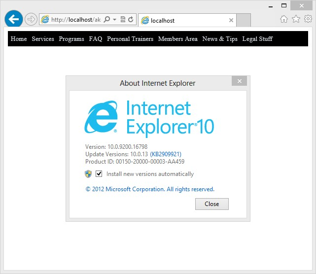 Snapshot of ASP Menu in IE 10.x