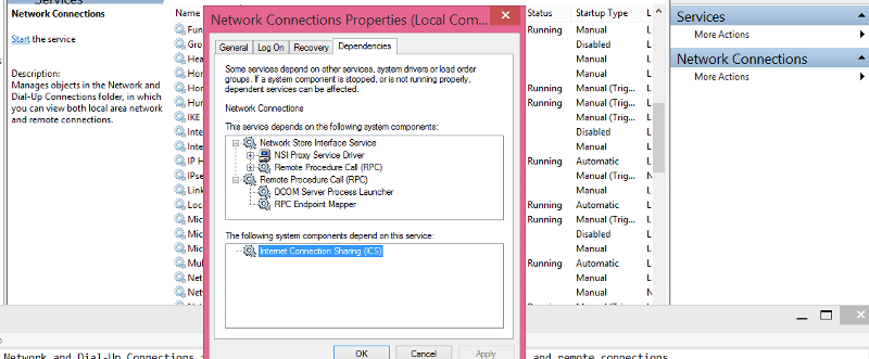 View properties of Network Connection service, my windows version 8.1 RT