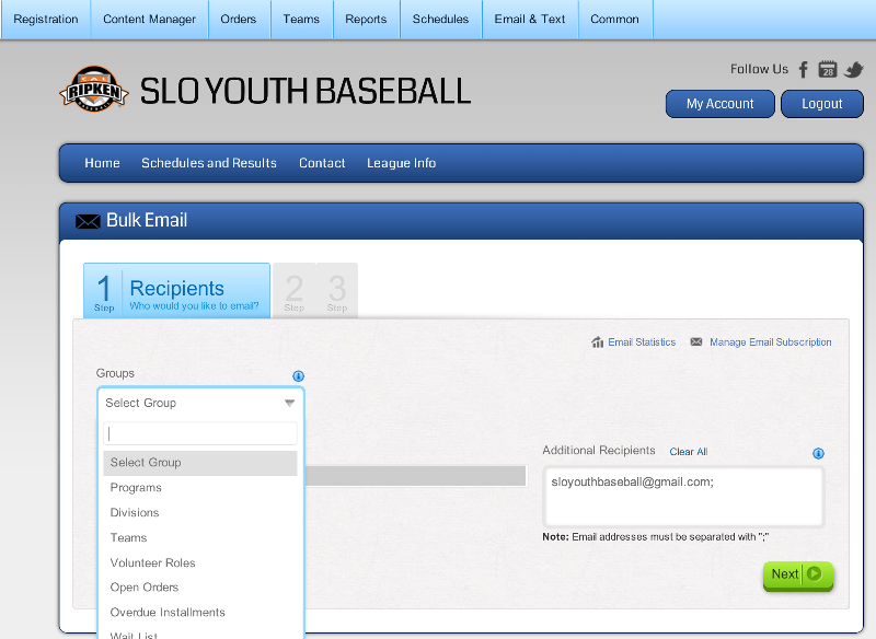 Screen shot of email tool - allows easy selection of recipient group