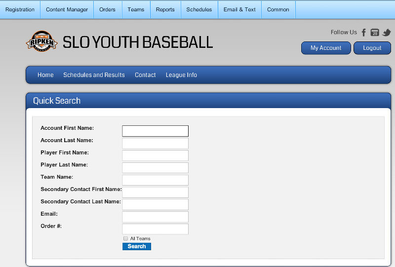 Screen shot of player search function