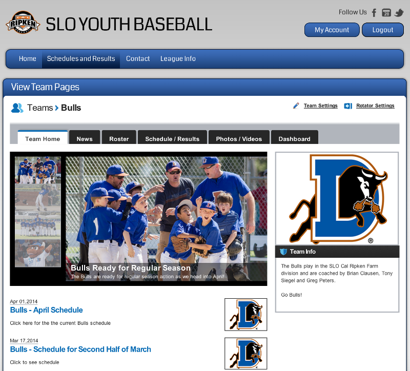 Screen shot of a team page