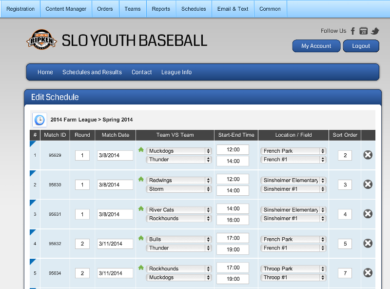Screen shot of schedule management interface
