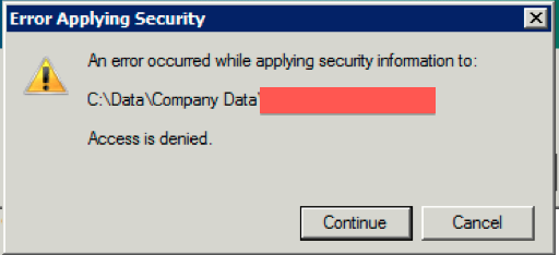 error applying security