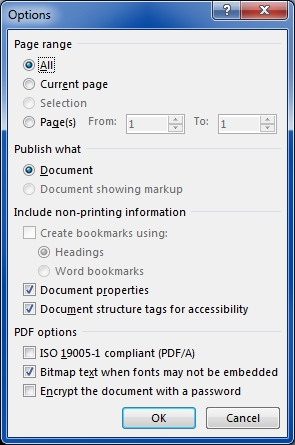 Word 2013 Save As PDF file options