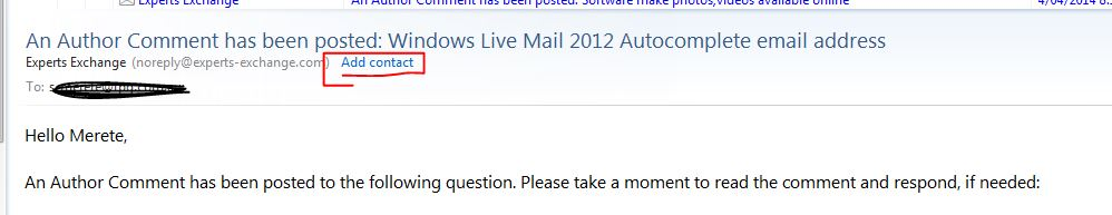 Windows Live Mail 2012 Autocomplete email address