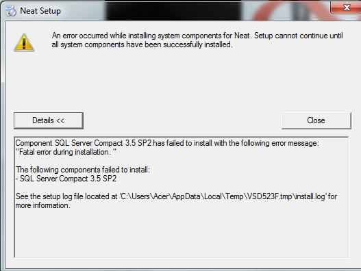 installation error from cd for neat-scanner