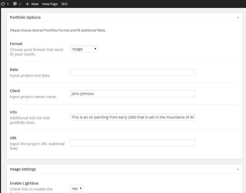 Screenshot of the Portfolio/custom fields section.
