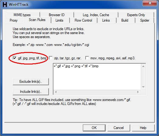 HTTrack Include-Exclude filters