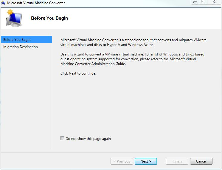 Microsoft Virtual Machine Converter Migrate to Hyper-V