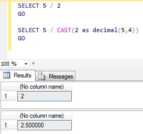 T-SQL Integer Division