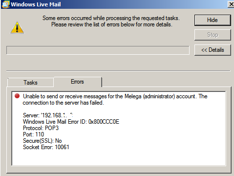 windows live mail client error generated when Send\Receive clicked