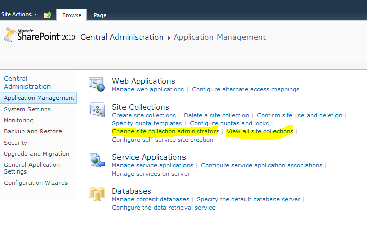 SharePoint Central Administration site