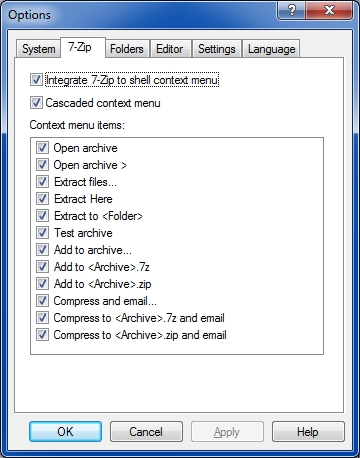 7-Zip context menu settings