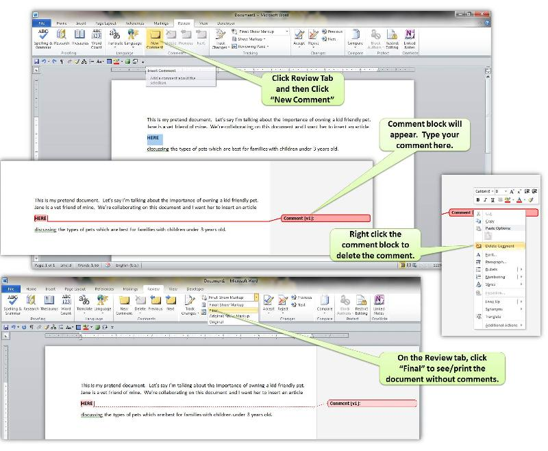Inserting, Deleting and Hiding Comments in Word 2010 and 2013