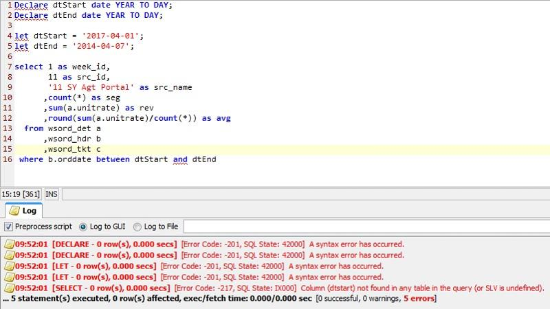 Returns multiple 'A syntax error has occured' lines