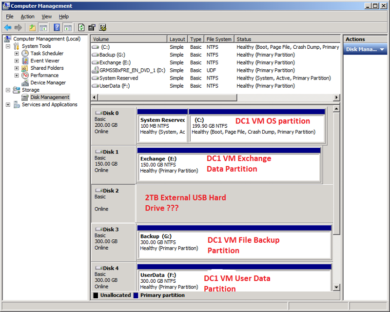 DC1 VM - Disk Management