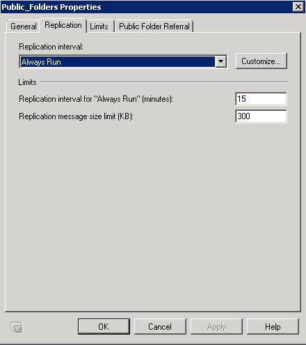 Replication Tab for Public Folders DB