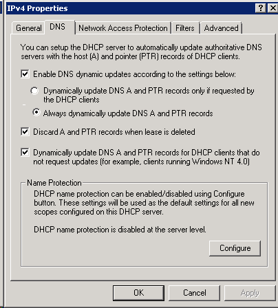 DHCP advanced DNS options