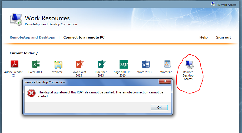 The digital signature of this RDP file cannot be verified