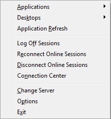 We do not have any option when you right click Citrix