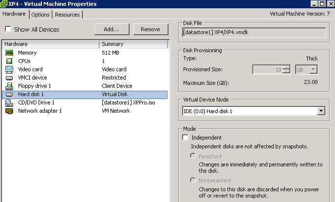 XP VM Properties