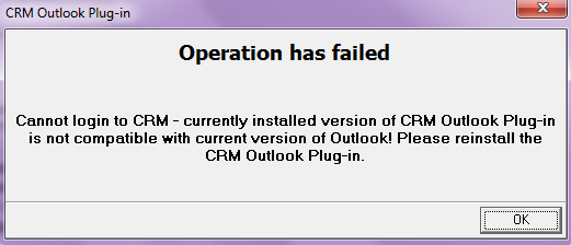 Error from CRM Outlook Plugin.