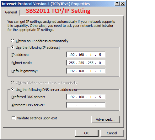 SBS2011 TCPIP Settings