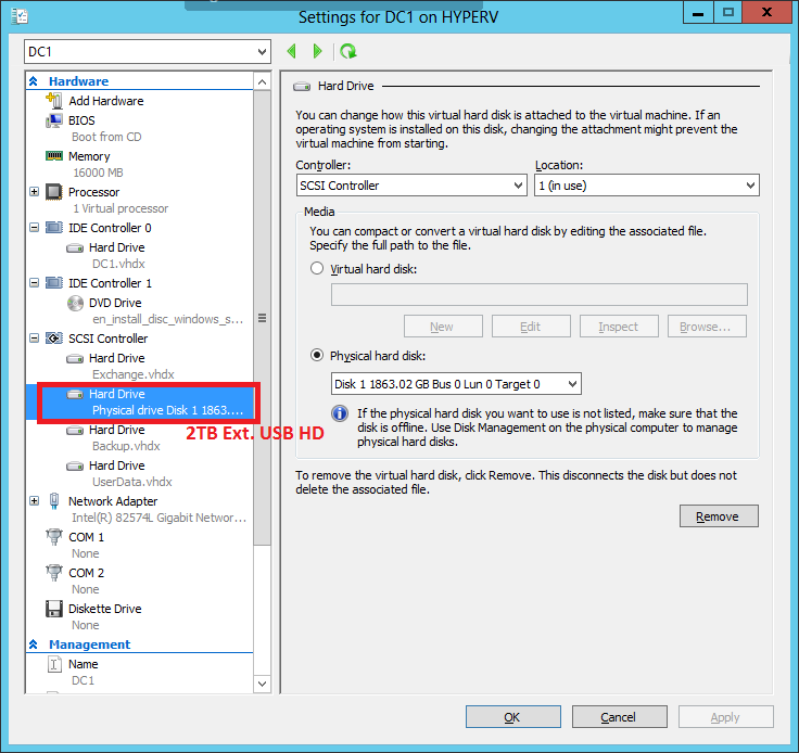 Settings for DC1 VM