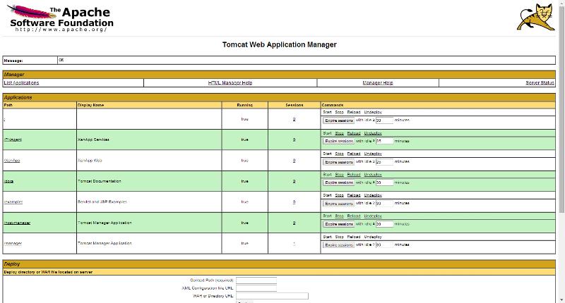tomcat app deployment page
