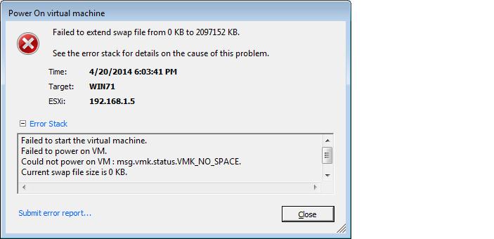 VM Start Error