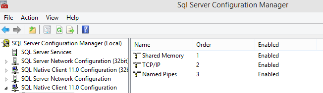 enable tcpip and then restart sql server