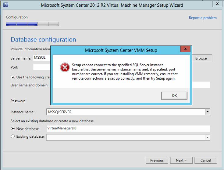 SCVMM Install Error
