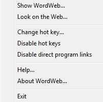 WordWeb context menu