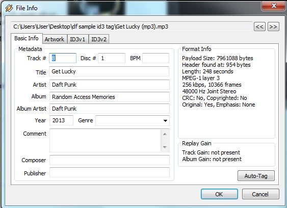 Winamp basic info  metadata
