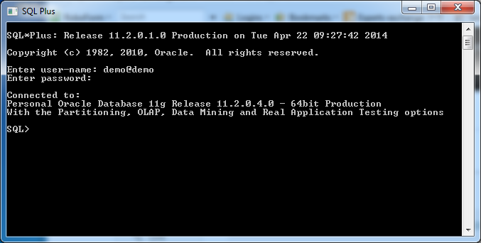 SQLPLUS - From start menu