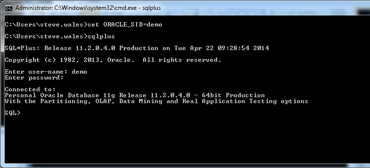 SQLPLUS - From CMD Window