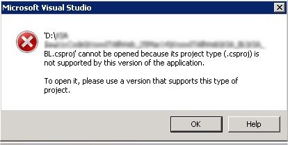 Error when visual studio 2008 try to open .csproj type file.