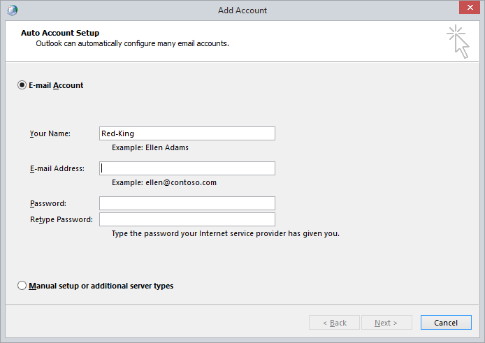 Outlook Add Account Screenshot
